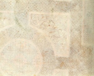 Backdrawing of the Carpet page shown above; showing guidlines for painter